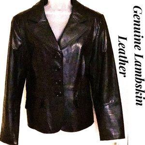 Portrait Jackets & Coats - Black Leather Jacket Portrait Lambskin NWOT